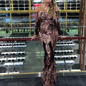 Rose gold Sequined Gown